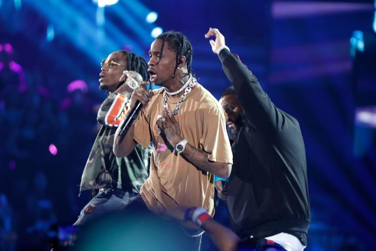 Travis Scott performs onstage during the 2017 iHeartRadio Music Festival at T-Mobile Arena on September 23, 2017 in Las Vegas, Nevada.