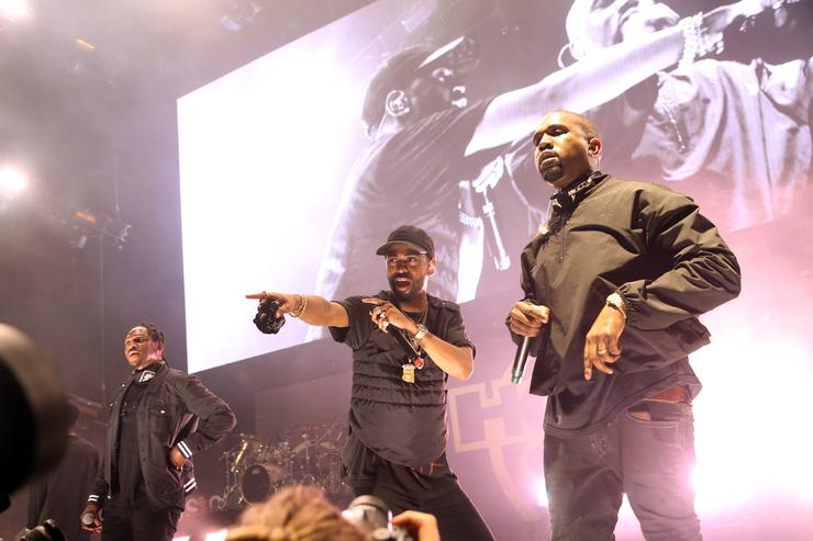 Pusha T, Big Sean, and Kanye West perform at Hot 97's Summer Jam 2016 at MetLife Stadium on June 5, 2016 in East Rutherford, New Jersey.