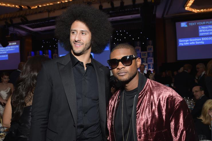 Colin Kaepernick (L) and Usher Raymond attend Robert F. Kennedy Human Rights Hosts Annual Ripple Of Hope Awards Dinner on December 13, 2017 in New York City.