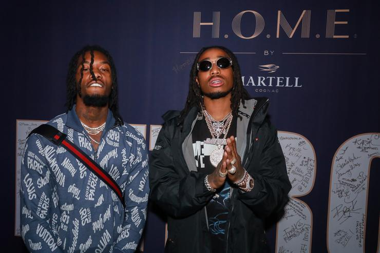 Rappers Offest and Quavo pose at the H.O.M.E. by Martell event on November 29, 2017 in Detroit, Michigan.