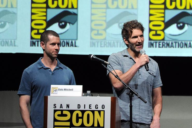 Producers D.B. Weiss (L) and David Benioff speak onstage during the 'Game Of Thrones' panel during Comic-Con International 2013 at San Diego Convention Center on July 19, 2013 in San Diego, California.