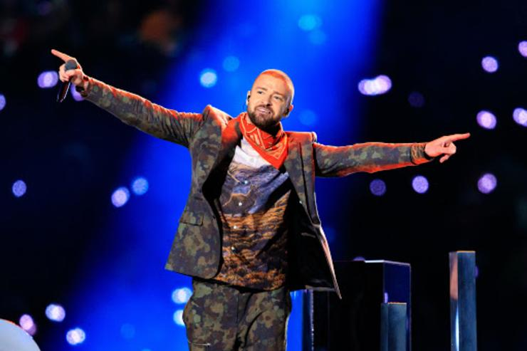 Justin Timberlake performing at the Super Bowl Halftime Show