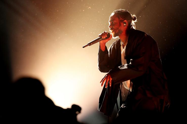 Kendrick Lamar performing at the GRAMMY awards