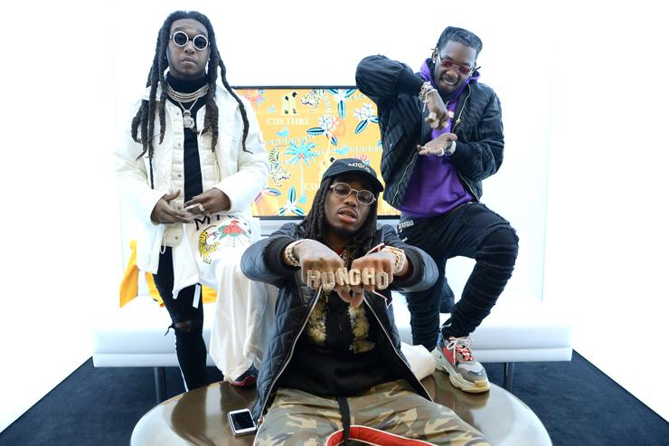 Takeoff, Quavo and Offset attend the Migos collection launch at MUSIC IS UNIVERSAL, Bloomingdale's exclusive partnership with Universal Music Group & Bravado at Bloomingdale's 59th Street Store on January 26, 2018 in New York City.