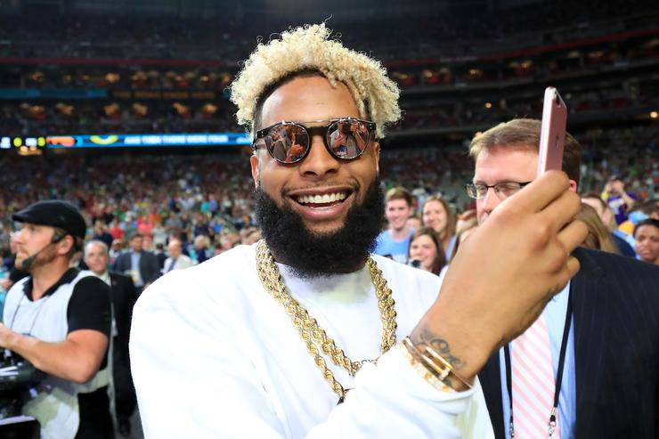 NFL player Odell Beckham Jr. of the New York Giants attends the game between the North Carolina Tar Heels and the Oregon Ducks during the 2017 NCAA Men's Final Four Semifinal at University of Phoenix Stadium on April 1, 2017 in Glendale, Arizona.