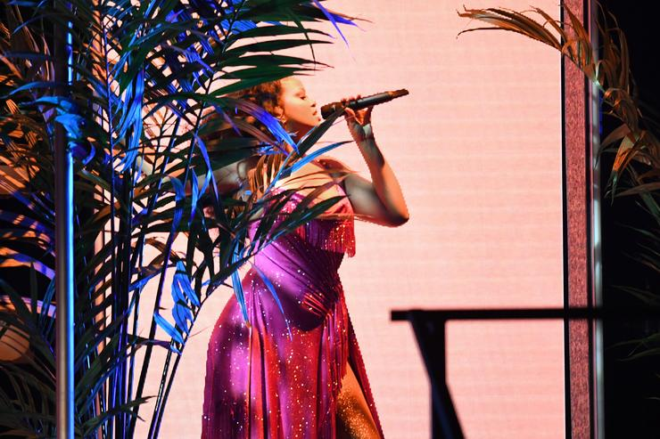 Rihanna performs onstage during the 60th Annual GRAMMY Awards at Madison Square Garden
