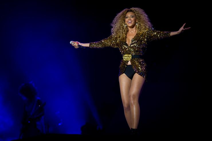 Beyonce performs live on the pyramid stage during the Glastonbury Festival at Worthy Farm, Pilton on June 26, 2011 in Glastonbury, England. The festival, which started in 1970 when several hundred hippies paid 1 GBP to attend, has grown into Europe's largest music festival attracting more than 175,000 people over five days.