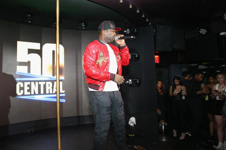 50 Cent speaks on stage at BET's 50 Central Premiere Party on September 25, 2017 in New York City