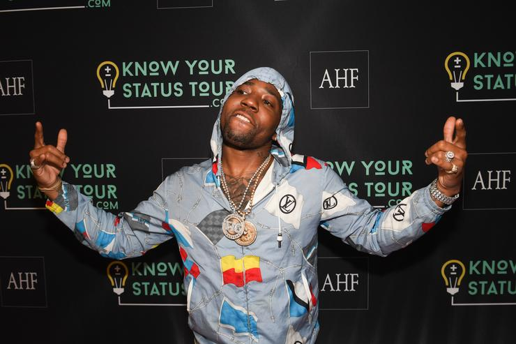YFN Lucci attends AHF Presents The Know Your Status Tour -Atlanta at Clark Atlanta Univeristy on April 20, 2017 in Atlanta, Georgia.