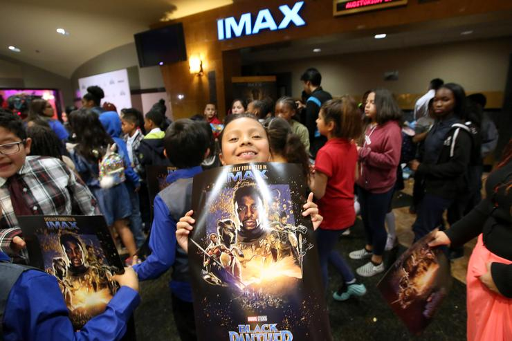 Boys & Girls Club Long Beach members received the celebrity treatment with concessions and more during an advance IMAX screening of 'Black Panther' on February 15, 2018 in Long Beach, California