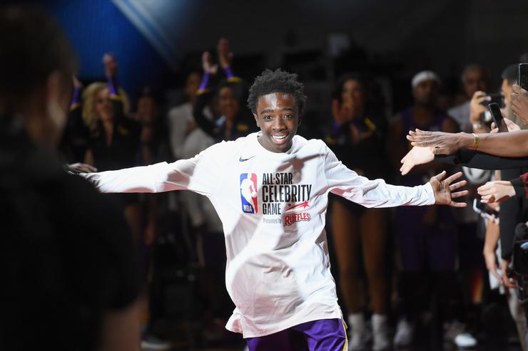 Caleb McLaughlin during player introductions prior to the 2018 NBA All-Star Game Celebrity Game at Los Angeles Convention Center