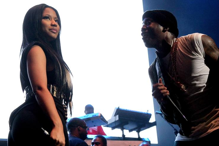 Rappers Nicki Minaj and Meek Mill perform onstage during 105.1's Powerhouse 2015 at the Barclays Center on October 22, 2015 in Brooklyn, NY.