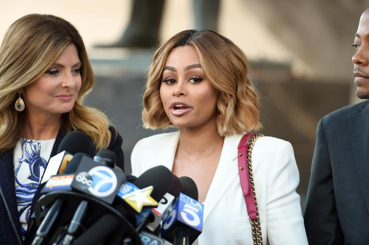 Lisa Bloom, Blac Chyna and Walter Mosley speak during a pre-court hearing press conference at Los Angeles Superior Court on July 10, 2017 in Los Angeles, California