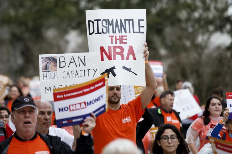 Protesters against the NRA