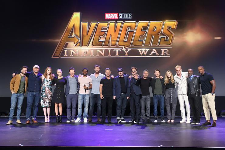 Actors Sebastian Stan, Dave Bautista, Karen Gillan, Pom Klementieff, Benedict Cumberbatch, Chadwick Boseman, Josh Brolin, and Chris Hemsworth, producer Kevin Feige, and actors Robert Downey Jr., Mark Ruffalo, Tom Holland, Elizabeth Olsen, Paul Bettany, Don Cheadle, and Anthony Mackie of AVENGERS: INFINITY WAR took part today in the Walt Disney Studios live action presentation at Disney's D23 EXPO 2017 in Anaheim, Calif