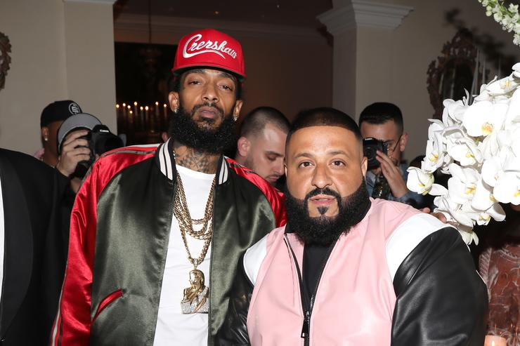 Nipsey Hussle and DJ Khaled attend The Four cast Sean Diddy Combs, Fergie, and Meghan Trainor Host DJ Khaled's Birthday Presented by CÎROC and Fox on December 2, 2017 in Beverly Hills, California