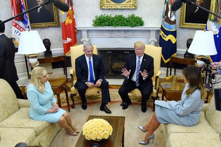 President Donald Trump and first lady Melania Trump meet with Israel's Prime Minister