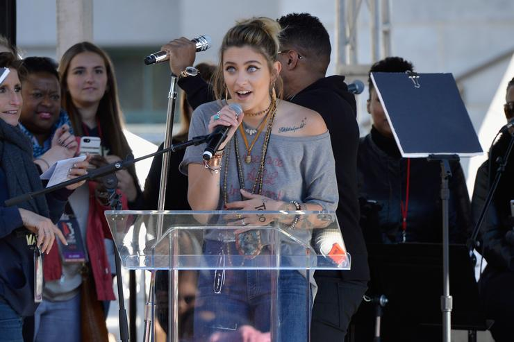 Paris Jackson speaking during the Women's March Los Angeles 2018