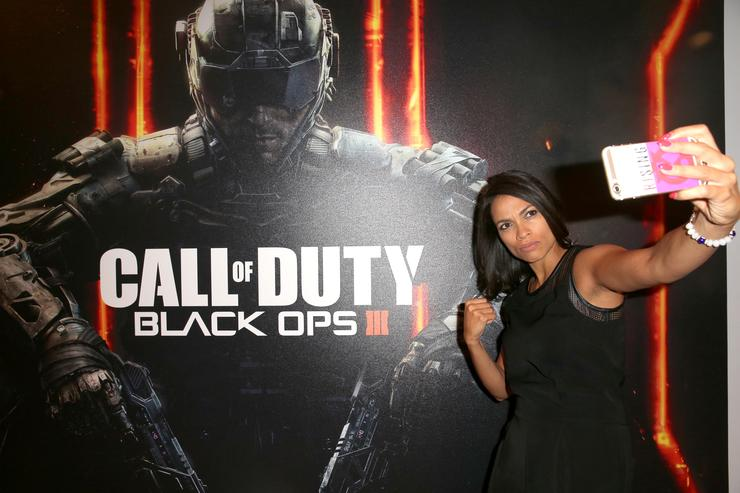 Rosario Dawson at the Call of Duty: Black Ops 3 booth during E3 2015