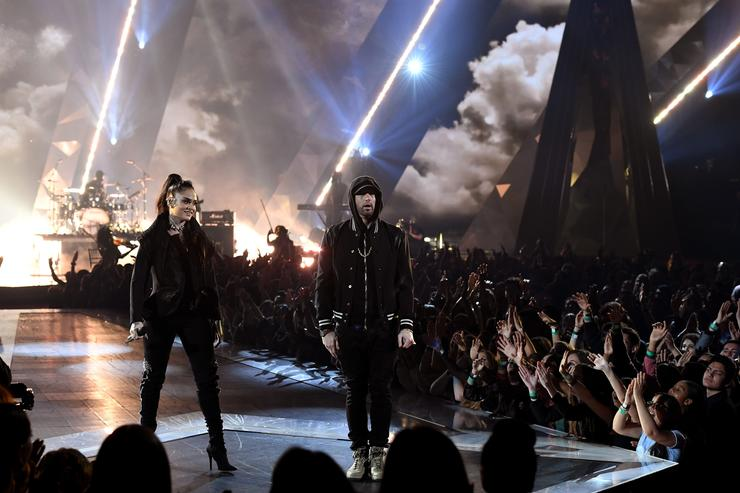 Kehlani (L) and Eminem perform onstage during the 2018 iHeartRadio Music Awards which broadcasted live on TBS, TNT, and truTV at The Forum on March 11, 2018 in Inglewood, California