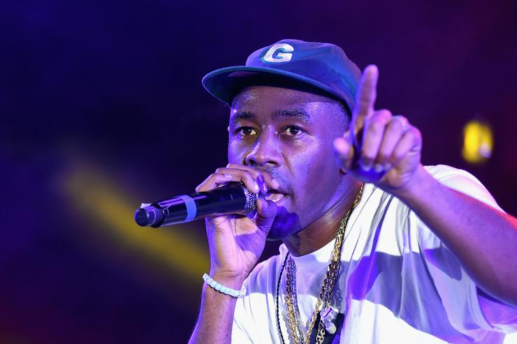 Tyler, The Creator performs on the Camp Stage during day 1 of Camp Flog Gnaw Carnival 2017 at Exposition Park on October 28, 2017 in Los Angeles, California.