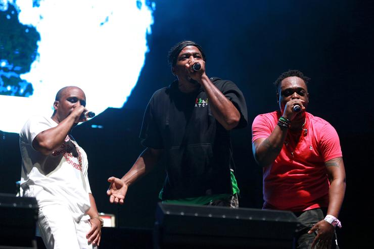 Consequence, Q-Tip and Jarobi White of A Tribe Called Quest perform onstage during day 2 of FYF Fest 2017 at Exposition Park on July 22, 2017 in Los Angeles, California