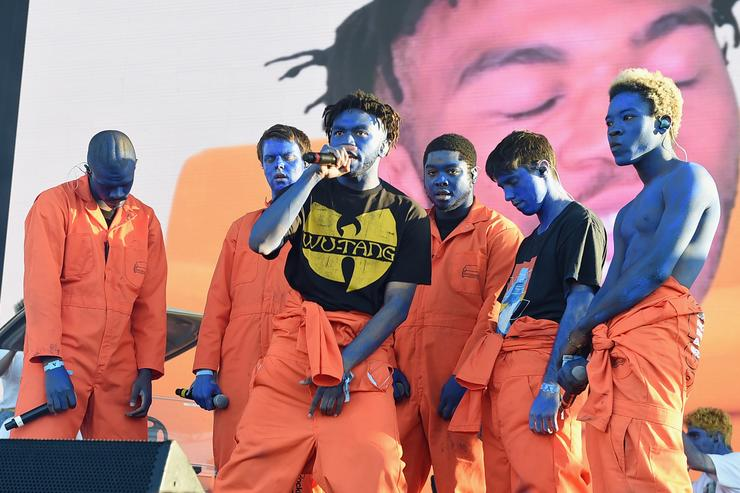 Brockhampton performs on Camp Stage during day 1 of Camp Flog Gnaw Carnival 2017 at Exposition Park on October 28, 2017 in Los Angeles, California.