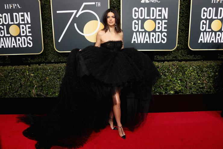 Kendall Jenner attends The 75th Annual Golden Globe Awards at The Beverly Hilton Hotel on January 7, 2018 in Beverly Hills, California