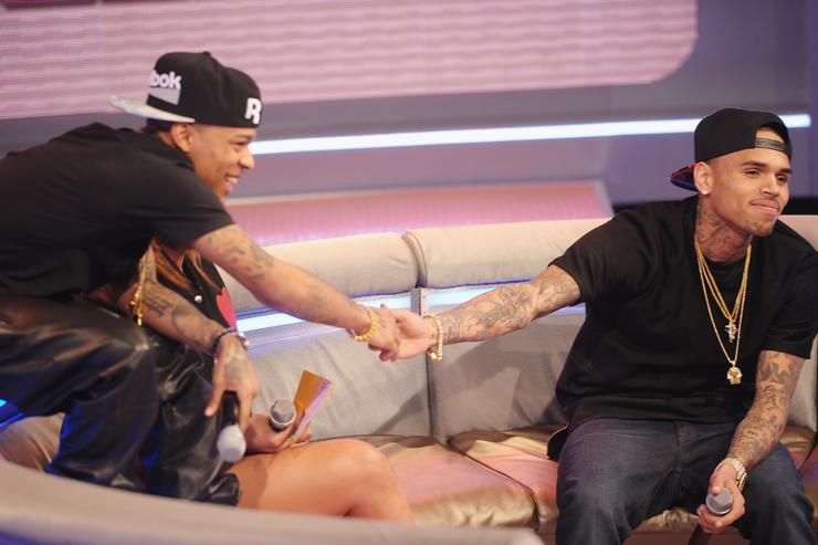 Bow Wow and singer Chris Brown appear on BET's '106 & Park' at BET Studios on April 1, 2013 in New York City