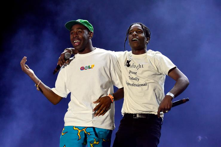 Tyler, The Creator (L) and ASAP Rocky perform onstage during day 1 of the 2016 Coachella Valley Music & Arts Festival Weekend 2 at the Empire Polo Club on April 22, 2016 in Indio, California
