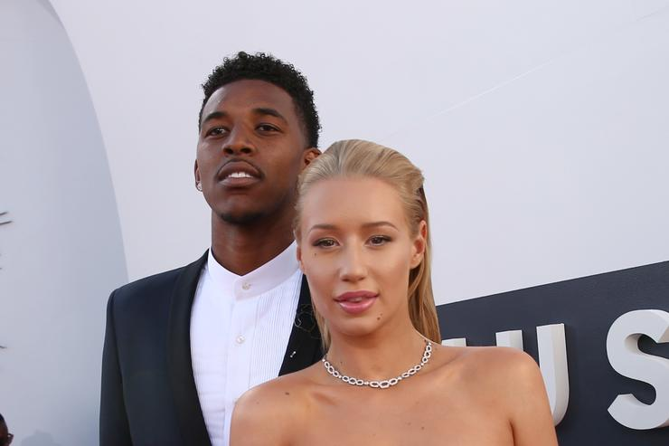 Nick Young and  Iggy Azalea attend the 2014 MTV Video Music Awards at The Forum on August 24, 2014 in Inglewood, California.