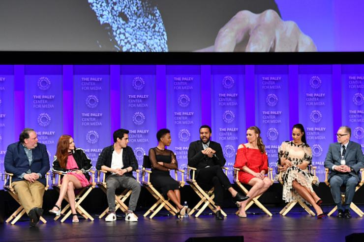 (L-R) Bruce Miller, Madeline Brewer, Max Minghella, Samira Wiley, O. T. Fagbenle, Yvonne Strahovski, Amanda Brugel, and Warren Littlefield attend The Paley Center For Media's 35th Annual PaleyFest Los Angeles with 'The Handmaid's Tale' at Dolby Theatre on March 18, 2018 in Hollywood, California.