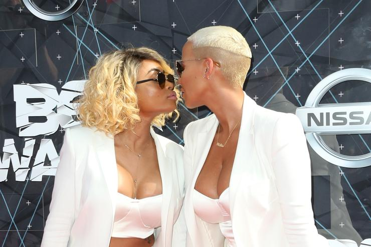 Amber Rose (R) and Blac Chyna attend the 2015 BET Awards at the Microsoft Theater on June 28, 2015 in Los Angeles, California