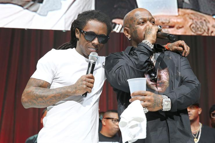 Lil Wayne and Birdman onstage at the 2013 BMI R&B/Hip-Hop Awards at Hammerstein Ballroom on August 22, 2013 in New York City