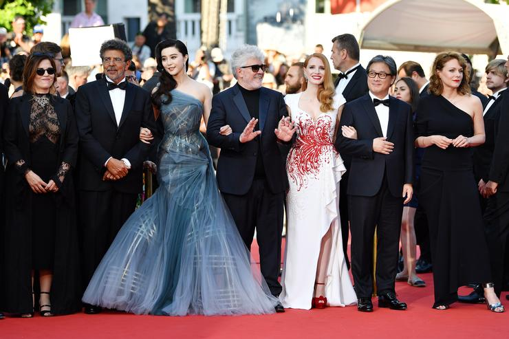 Jury members Agnes Jaoui, Gabriel Yared, Fan Bingbing, President of the jury Pedro Almodovar, jury members Jessica Chastain, Park Chan-wook and Maren Ade attend the Closing Ceremony of the 70th annual Cannes Film Festival at Palais des Festivals on May 28, 2017 in Cannes, France