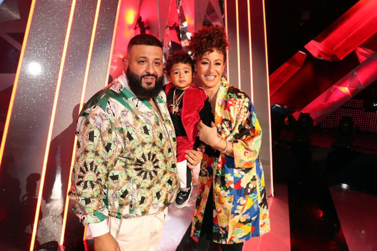 Co-host DJ Khaled, Asahd Tuck Khaled, and Nicole Tuck attend the 2018 iHeartRadio Music Awards which broadcasted live on TBS, TNT, and truTV at The Forum on March 11, 2018 in Inglewood, California.
