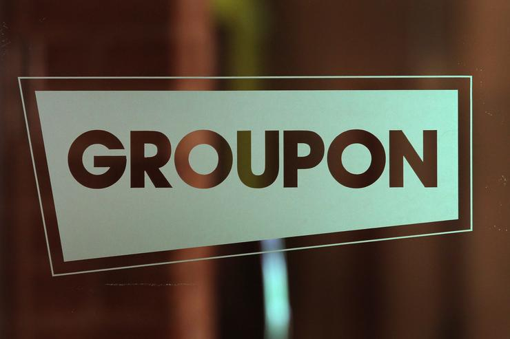 The Groupon logo is displayed in the company's international headquarters on June 10, 2011 in Chicago, Illinois