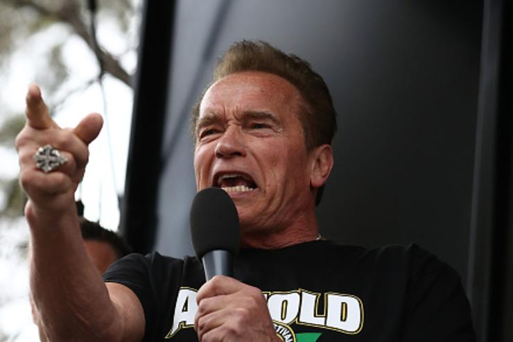 Arnold Schwarzenegger starts the Run for the Kids charity run as part of the Arnold Sports Festival Australia at at the Alexander Gardens on March 18, 2018 in Melbourne, Australia.