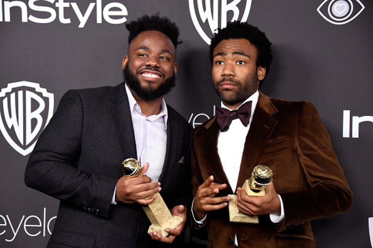 Writer Stephen Glover (L) and actor/writer Donald Glover, winners of Best Series - Musical or Comedy for 'Atlanta,' attend the 18th Annual Post-Golden Globes Party hosted by Warner Bros.