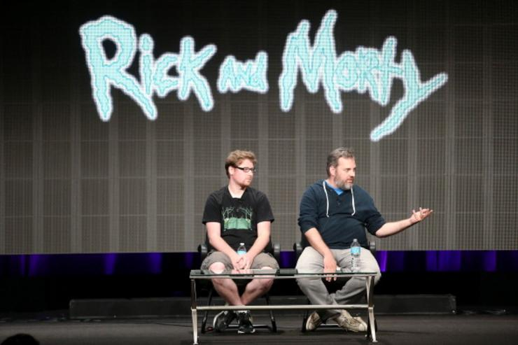 Producers Justin Roiland (L) and Dan Harmon speak onstage during the Adult Swim: Rick and Morty panel at the Turner Broadcasting portion of the 2013 Summer Television Critics Association tour at the Beverly Hilton Hotel on July 24, 2013 in Beverly Hills, California.