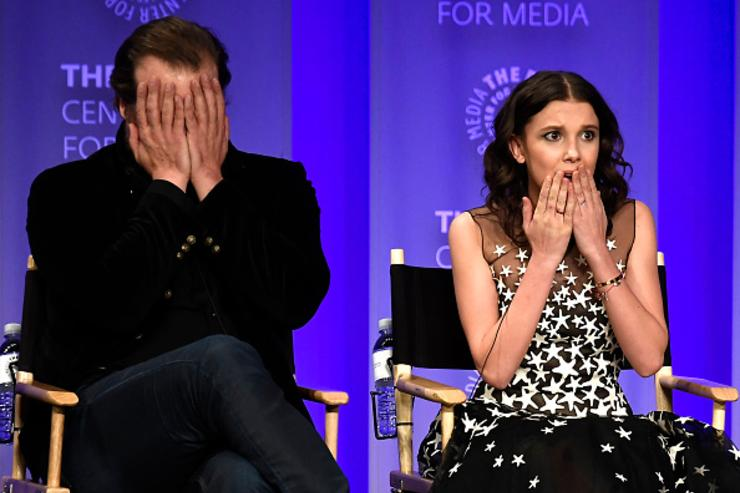 David Harbour and Millie Bobby Brown speak onstage at The Paley Center For Media's 35th Annual PaleyFest Los Angeles - 'Stranger Things' at Dolby Theatre on March 25, 2018 in Hollywood, California.