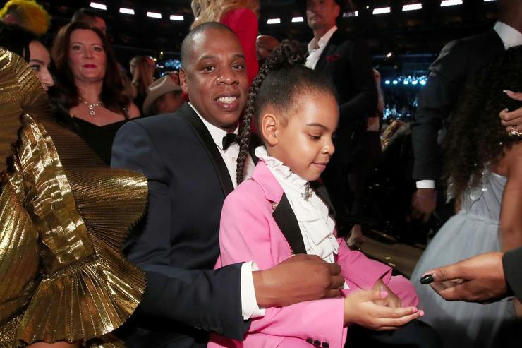 Jay-Z and daughter Blue Ivy Carter during The 59th GRAMMY Awards at STAPLES Center on February 12, 2017 in Los Angeles, California