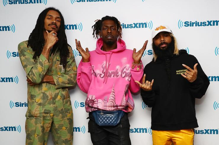 Rappers Erick Arc Elliott, Meechy Darko and Zombie Juice of the rap group Flatbush Zombies perform during a taping of 'Hip Hop Nation' on Eminem's Shade 45 channel at SiriusXM Studios on April 2, 2018 in New York City.