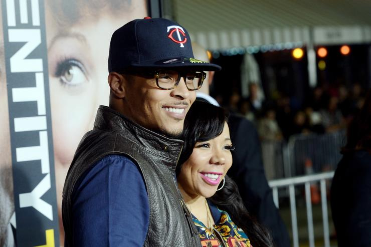 Actor/rapper T.I. (L) and his wife Tiny arrive at the premiere of Universal Pictures' 'Identity Thief' at the Village Theatre on February 4, 2013 in Los Angeles, California.