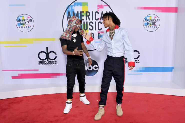 Slim Jimmy (L) and Swae Lee of Rae Sremmurd attend the 2017 American Music Awards at Microsoft Theater on November 19, 2017 in Los Angeles, California