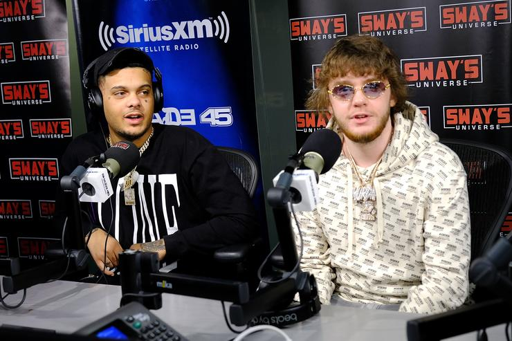Rapper Smokepurpp (L) and Murda Beatz visit 'Sway in the Morning' hosted by SiriusXM's Sway Calloway on Eminem's Shade 45æat the SiriusXM Studios on April 6, 2018 in New York City.