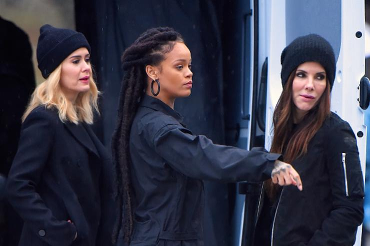 Sarah Paulson, Rihanna and Sandra Bullock seen at the 'Ocean's Eight' film set in Central Park on January 24, 2017 in New York City.