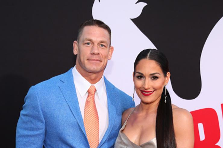 ohn Cena (L) and Nikki Bella attend the premiere of Universal Pictures' 'Blockers' at Regency Village Theatre on April 3, 2018 in Westwood, California.