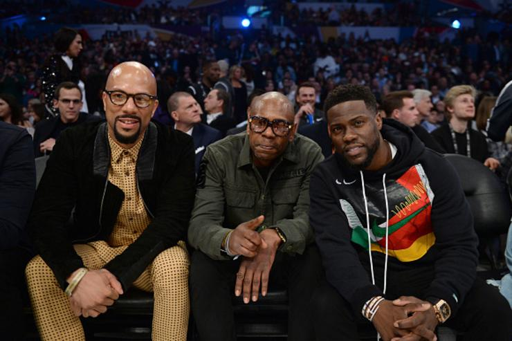 Common, Dave Chappelle and Kevin Hart attend the NBA All-Star Game 2018 at Staples Center on February 18, 2018 in Los Angeles, California.