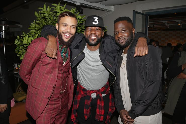 Jidenna, Carl Chery and Tunji Balogun attend 'The Glow Up' Hosted By Tunji Balogun And Carl Chery at NeueHouse Hollywood on December 8, 2016 in Los Angeles, California.